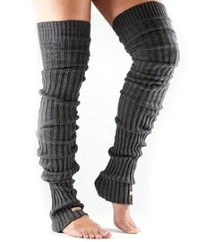 LEG WARMER Thigh High Charcoal Grey