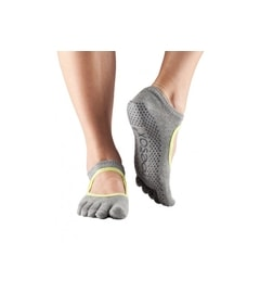 BELLARINA Grip Full Toe Heather Grey With Lime Trim