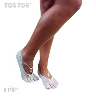 TOE ANKLET-X Patterned Flora Fishnet Soft Grey